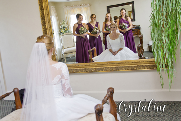 Willow Ridge Manor -  Bride in the mirror with her gals